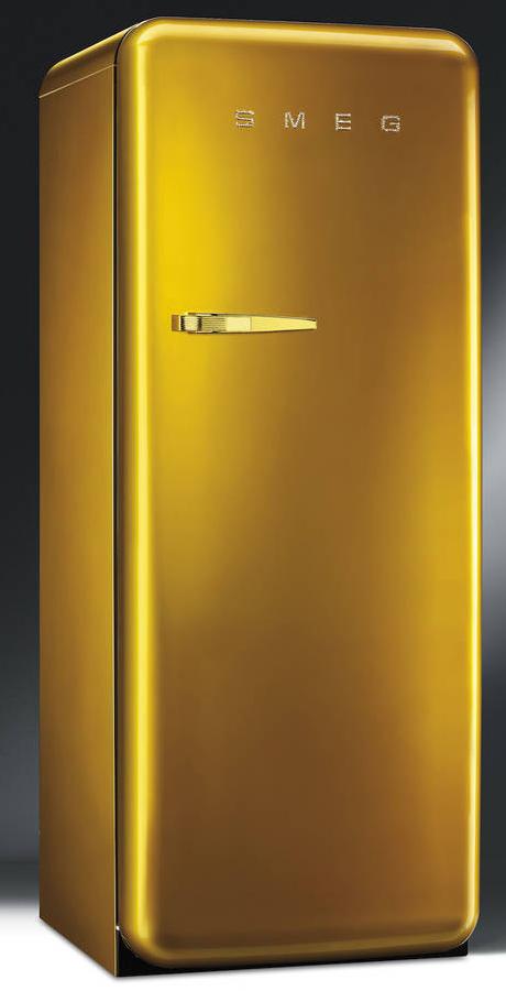Smeg Retro Fridge In Gold With Swarovski Crystals